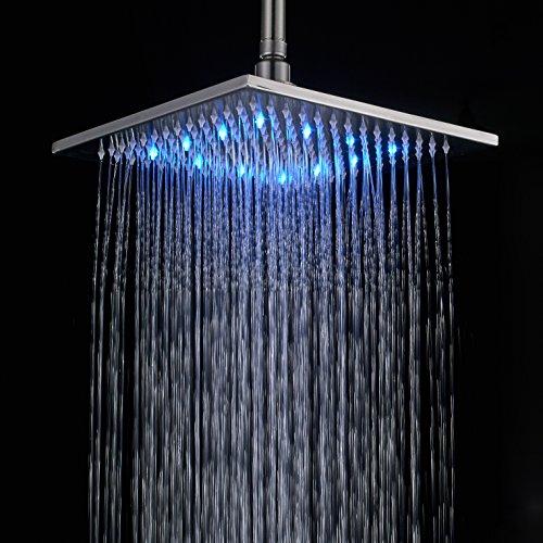 Rozin 12-inch LED Color Bathroom Square Shower Head Rainfall Over-head Spray Brushed - Square Head Shape