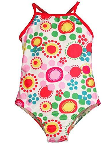Bunz Kidz - Baby Girls Flower Dot 1 Piece Swimsuit, White, Multi 35166-18Months
