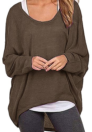 Shoulder Boatneck (Lyxinpf Women's Batwing Sleeve Knit Tops Casual Loose Oversized Shirts Off Shoulder Baggy Blouse (L, Coffee))
