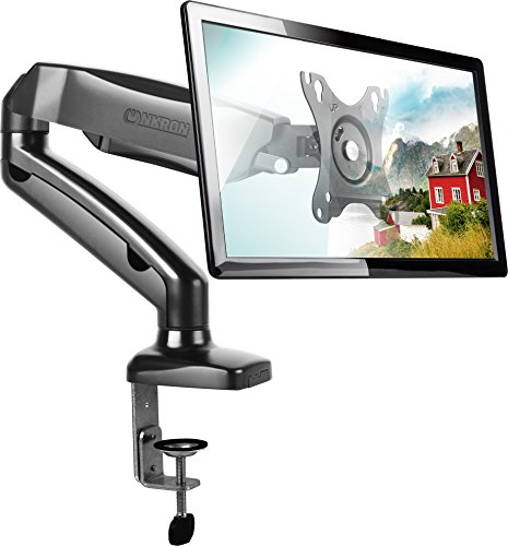 15 Flat Panel Monitor Lcd (ONKRON Desk Mount Articulating Arm for LED LCD Flat Panel TV Screens and Monitors 13'' – 27 inch up to 14.3 lbs Full Motion Adjustable G80 Black)