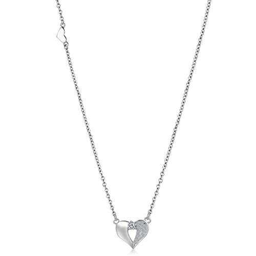 Daesar Silver Necklace for Women 925 Sterling Heart Pendant Necklace Cubic Zirconia Necklace Wedding Silver