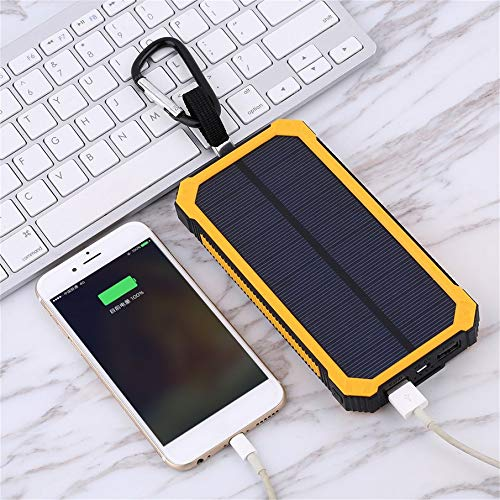 Yellow KNOSSOS 20000MAH Waterproof Solar External Power Bank for Mobile Phones with Cable