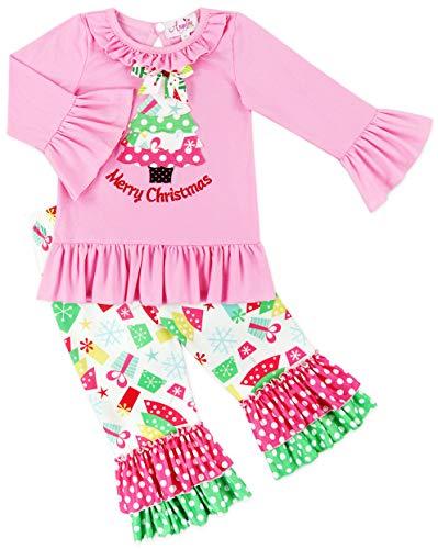 Toddler Little Girls Christmas Trees Ruffle Tunic Pant Set Pink Dots 18-24M -