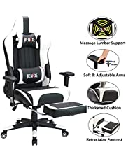 Remaxe Large Size Computer Gaming Chair Ergomonic Racing Chair with Retractable Footrest,Execultive PU Leather Headrest Lumbar Massager Cushion Ergonomic Swivel PC Chair for Home
