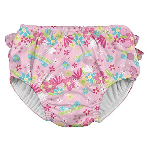 i play. Baby Girls Ruffle Snap Reusable Absorbent Swimsuit Diaper, Light Pink Dragonfly Floral, 24mo