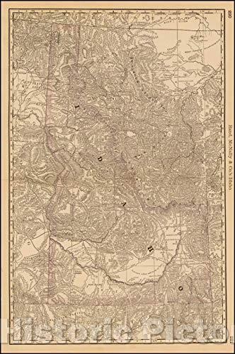 Historic Map | Idaho, 1878, William Rand | Vintage Wall Art 24in x 36in