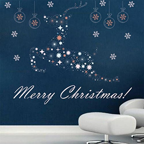 Coohole New Merry Christmas Background Wall Decoration Removable Wall Stickers Home Decor (Happy Halloween Backgrounds For Iphone)