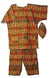 Decoraapparel African Kente Suit Traditional Dashiki Pant Set Cotton Wedding Suit With Big Hat
