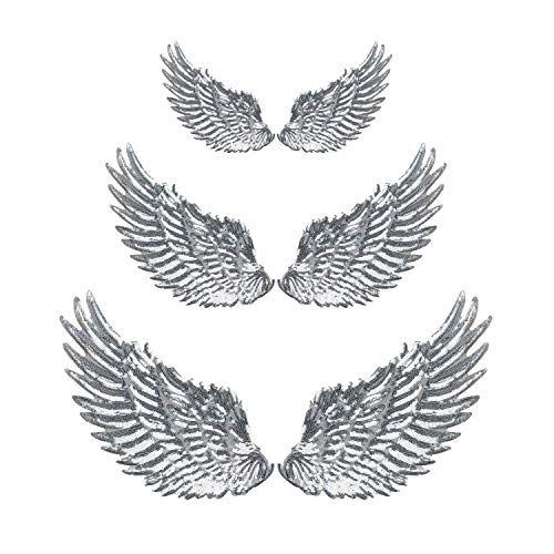 Calculs 3 Pair Sequin Patches Angel Wings Iron On Patches DIY Sequined Applique Wings Multi-Sized ()