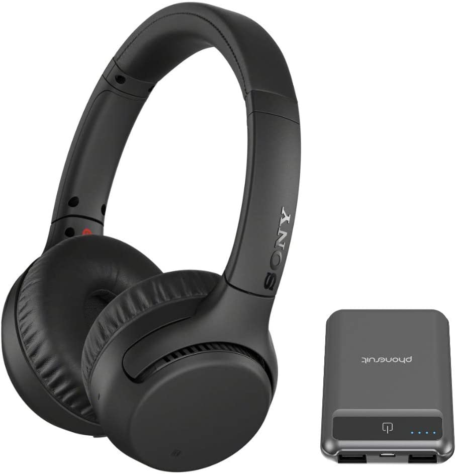 Sony WH-XB700 Wireless Extra Bass On-Ear Headphones (Black) Bundled with 5000mAh Ultra Portable Battery Pack (2 Items)