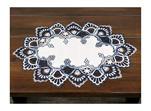 Lace Placemat Dresser Scarf Doily Blue Navy and White European Placemat 14 x 21 Inches