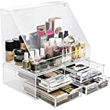 Sorbus Acrylic Cosmetics Makeup Organizer Storage Case Holder Display with Slanted Front Open Lid-Cosmetic Storage for Makeup, Brushes, Perfumes, Skincare (Style 2 - Slanted Lid with 4 Drawers)