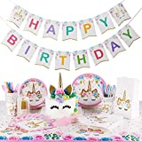 Unicorn Party Supplies Kit | Serves 16 | Unicorn Birthday Party Supplies | Happy Birthday Banner | Cake Topper | Cake Cutter | Candles | Goody Bags | Napkins | Plates | Cups | Utensils | Table Cloth