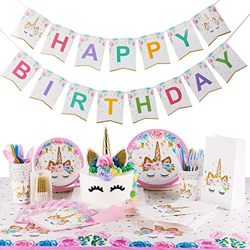 Unicorn Party Supplies Kit | Serves 16 | Unicorn Birthday Party Supplies | Happy Birthday Banner | Cake Topper | Cake Cutter | Candles | Goody Bags | Napkins | Plates | Cups | Utensils | Table Cloth]()