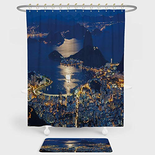 Kia Rio Set - Night Shower Curtain And Floor Mat Combination Set Aerial View of Mountain Sugar Loaf and Botafogo Rio de Janeiro For decoration and daily use Violet Blue Marigold Light Grey