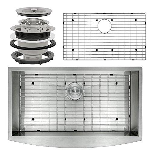 Perfetto Kitchen and Bath 33' x 22' x 9' Apron Undermount Handmade 18 Gauge Stainless Steel Single Basin Kitchen Sink w/ Dish Grid & Drain Combo