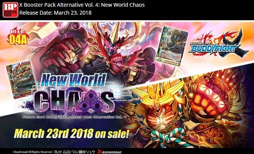 Buddyfight TCG Card Game NEW WORLD CHAOS Booster Box XBT-04A - 30 packs ()
