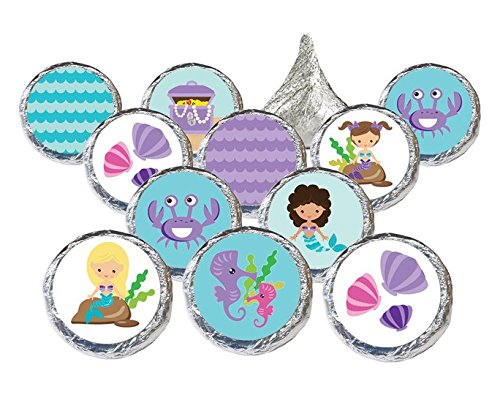 Mermaid Party Favors Stickers for Kisses Candies (Set of 324) (Little Mermaid Sticker Sheets)
