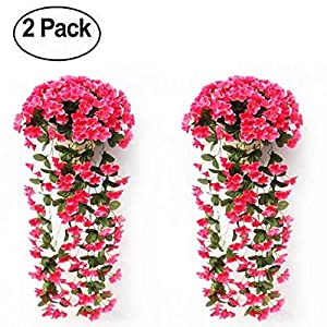 Vafany 2 Pcs Artificial Violet Flowers Wall Wisteria for Wedding Home Mounted Garden Balcony Wall Traling Floral Decoration 5