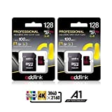 addlink 2 Pack 128GB MicroSDXC U3 V30 A1 Memory Card with Adapter with Read 100MB/s high Speed