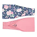 Maven Thread Women's Headband Yoga Running Exercise Sports Workout Athletic Gym Wide Sweat Wicking Stretchy No Slip 2 Pack Set Pink and Navy Floral ENERGY by