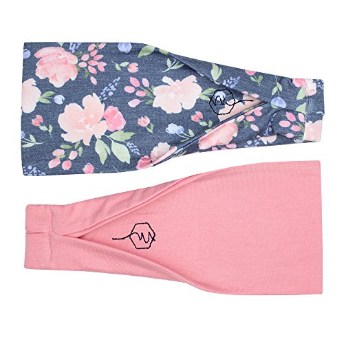 Maven Thread Women's Headband Yoga Running Exercise Sports Workout Athletic Gym Wide Sweat Wicking Stretchy No Slip 2 Pack Set Pink and Navy Floral ENERGY by by Maven Thread (Image #9)