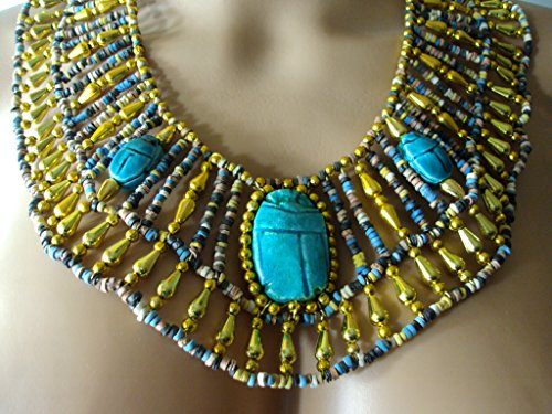 [Egyptian Hand Made Multi Beaded Scarab Beads Cleopatra Nefertiti Queen Style 9.5