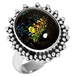 Solid 925 Sterling Silver Ring Dichroic Glass Gemstone Collectible Jewelry Size 6