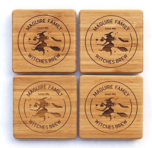 (Personalized Halloween Decorations Kitchen Dining Wood Coasters - Unique Table Holiday Decor (Set of 2, Halloween Witches Brew)