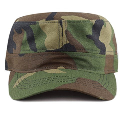 The Hat Depot Cotton Twill Military Caps Cadet Army Caps (Woodland Camo)