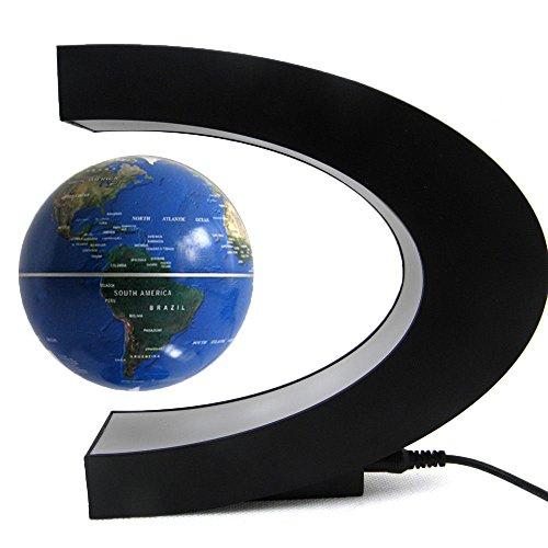 Happy Hours C Shape Magnetic Field Levitation Floating Globe World Map LED Light Lamp Home Desktop Decoration Gift, Blue