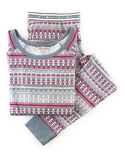 Fire White Cotton Spandex - Victoria's Secret Fireside Long Jane Thermal Pajama Set Gray White Pink Print X-Large