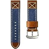 ZULUDIVER Canvas & Italian Leather Watch Strap, Navy Blue & Vintage Brown, 24mm