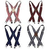 Bundle Monster 4pc Unisex Mens Suspender - Light Stripe Design X-Back Adjustable Clip