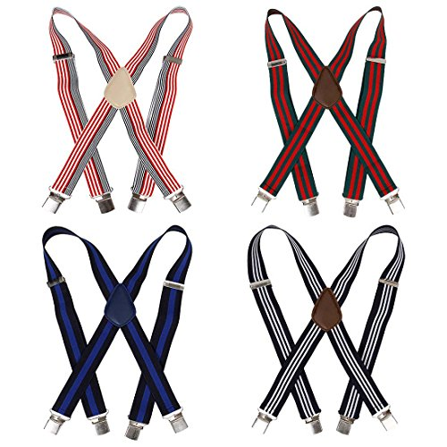 - Bundle Monster 4pc Unisex Mens Suspender - Light Stripe Design X-Back Adjustable Clip