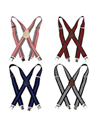Bundle Monster 4pc Light Stripe Design X-Back Adjustable Clip Unisex Suspender