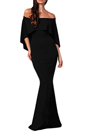 60b6d1c88db FUSENFENG Women s Off Shoulder Ruffle Long Mermaid Evening Party Dress Gown