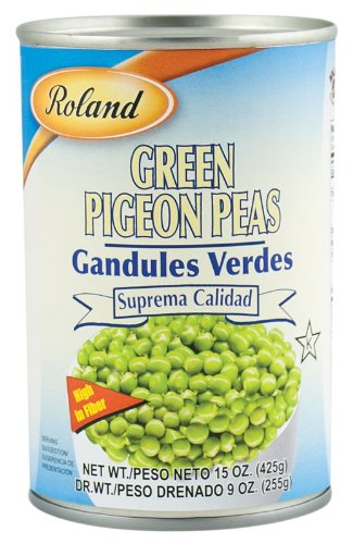 Roland Green Peas, Pigeon, 15 Ounce (Pack of 24) by Roland