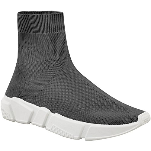 Sock Womens Fashion Sneakers Grey Knit Size Knitted Ankle Thirsty Elasticated Boots PqqCwX
