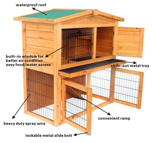 Wooden Rabbit Hutch Small Animal House Pet Cage Chicken Coop A-Frame 40''Pet Holds Cages Home - House Deals by House Deals (Image #3)