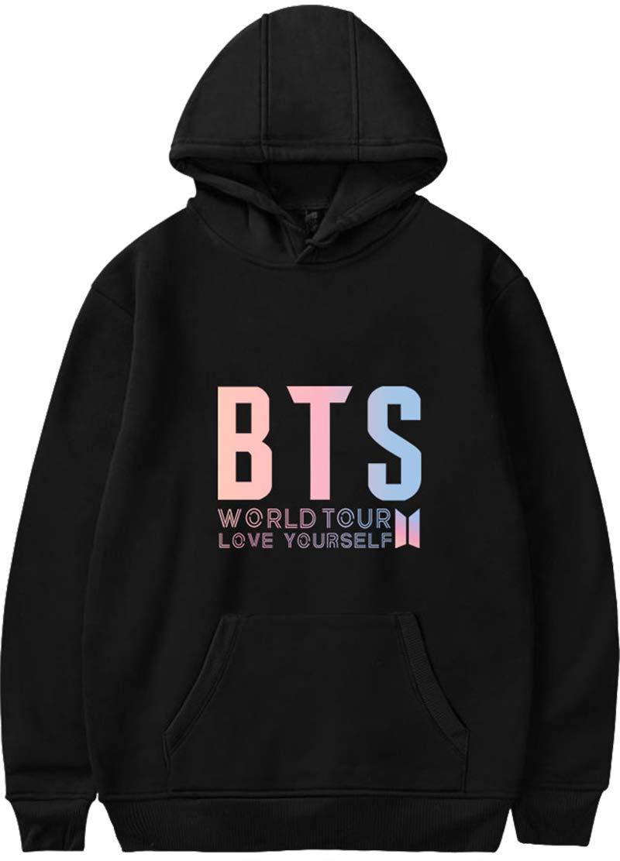 Imilan Girls' Hoodie Youth BTS Love Yourself Print Hooded Top Sweatshirt(140-150cm(XXS),Black-D)