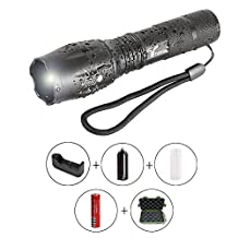 LED Tactical Flashlight,Trymie 5 Modes 900 Lumen LED Torch Ultra Bright Waterproof Flashlight Portable Waterproof Zoomable Adjustable Focus Flashlight with Rechargeable 18650 Lithium Ion Battery and Charger - Ideal for Outdoors, Home, Emergency, or Gift-Giving