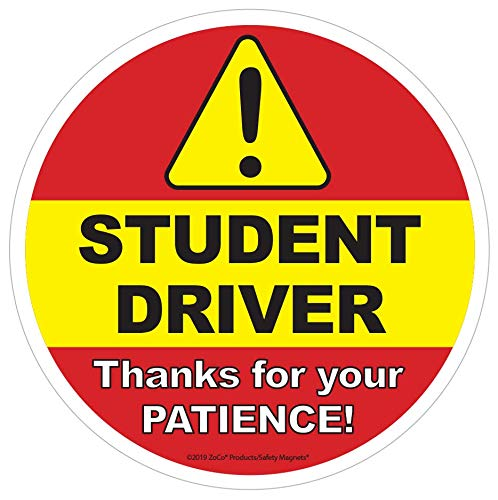 Student Driver Window Cling Signs for Car - 6 inch Non-Magnetic New Driver in Training Decal Sticker for Vehicles by Safety Magnets Plus