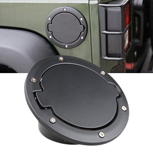 TOPNEW® Black Powder Coated Steel Gas Fuel Tank Gas Cap Cover & Accessories for 07-16 Jeep Wrangler (07 Fuel Tank)