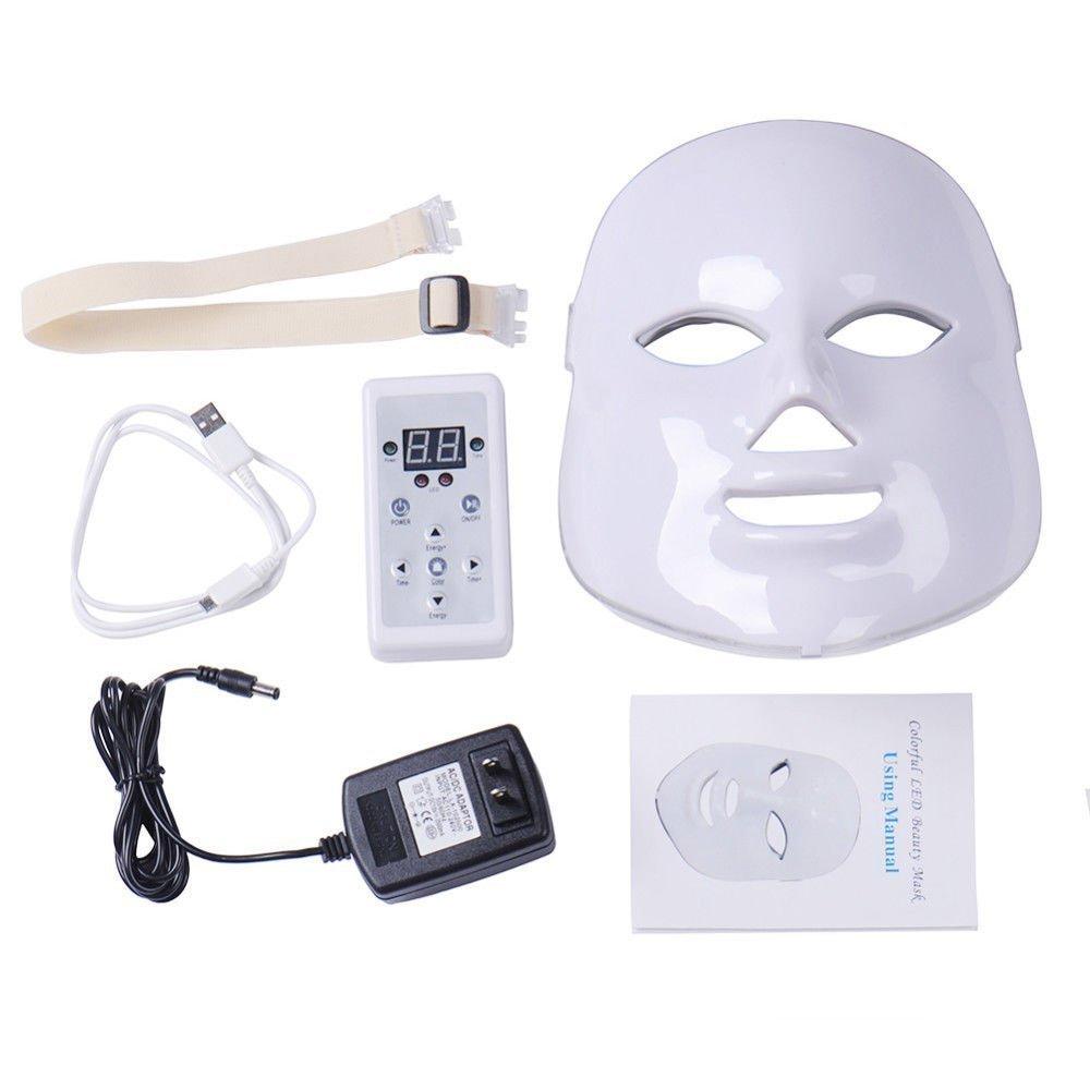 Dermapeel Beauty 7 Color L-E-D Mask Photon Light Skin Rejuvenation Therapy Facial Skin Care Mask