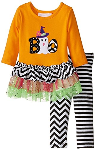 Bonnie Jean Little Girls Halloween BOO Ghost Dresss Legging Outfit Orange 5]()