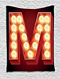 XHFITCLtd Letter M Tapestry, Vintage Alphabet Collection of Old Movie Theaters Casinos Retro Type, Wall Hanging for Bedroom Living Room Dorm, 60 W X 80 L Inches, Vermilion Yellow Black