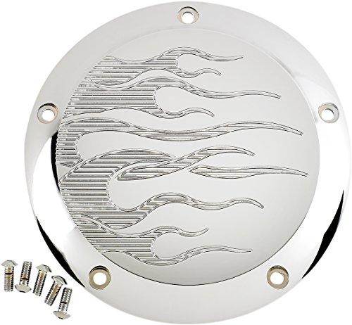 Billet Chrome Derby Covers (Joker Machine 069602C Chrome Billet Derby Cover - Flame Chrome)