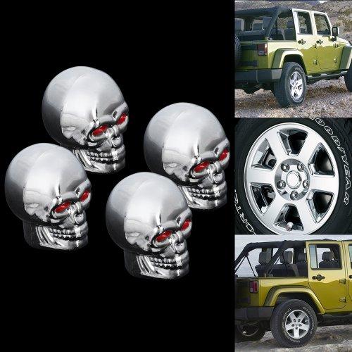 4x Custom Chrome Silvertoned Skull Tire Air Valve Stem Cap Cover Set For Automotive Auto Car Hot Rod Ratrod ATV Wheel Rim