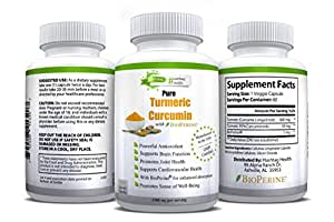 Best Turmeric Curcumin Powder Supplement (w/ Black Pepper Extract, Bioperine) Anti-Inflammatory for Optimal Health | Natural Joint & Heart Support | Vegan, Non GMO 1300mg Capsules (60 - 1 mo. Supply)